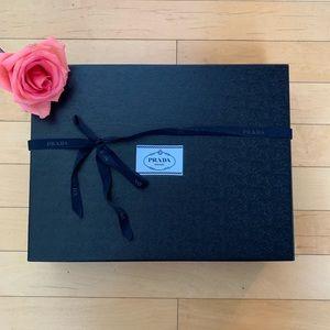 Prada Blue Storage box w/ ribbon. L-16, W-12,H-4